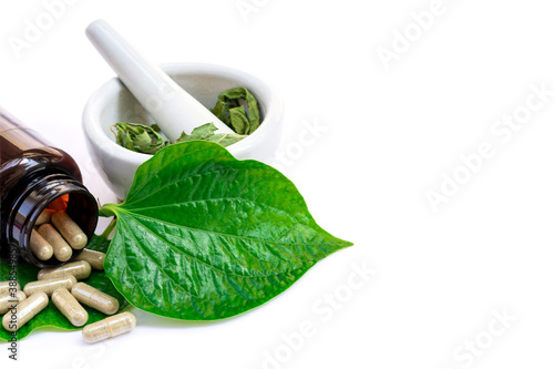 mortar and pestle with betel herbs medicine Canvas Print