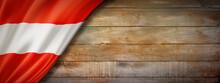 Austrian Flag On Vintage Wood Wall Banner