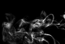Hite Natural Steam Smoke Effect On Solid Black Background With Abstract Blur Motion Wave Swirl Use For Overlay In Vapor Cigarette, Hot Boil Food And Water