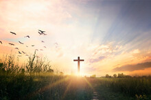 Good Friday Concept: Cross On Sunset Sky Background