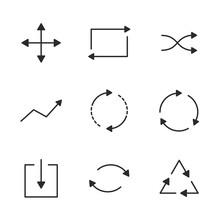 Arrows Line Icons Set. Thin Ar...