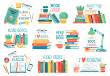 Reading Books. Stack Of Library Books With Hand Drawn Lettering, Open Or Closed Textbooks, Reading Vector Illustration Icons Set. Library Literature, Stacks Book School, Knowledge And Education