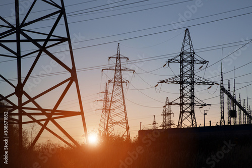 Fotografie, Obraz Electric powerlines on electric substation and distribution power