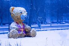 Golden Bear Illuminated On A W...