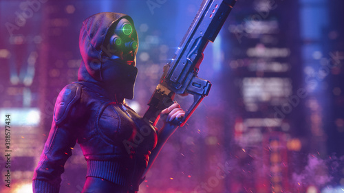 Obraz Futuristic woman in hooded leather jacket wears night vision helmet holds assault rifle in one hand on night light bokeh in city. 3d illustration of a dangerous cyberpunk girl in tight black clothes. - fototapety do salonu