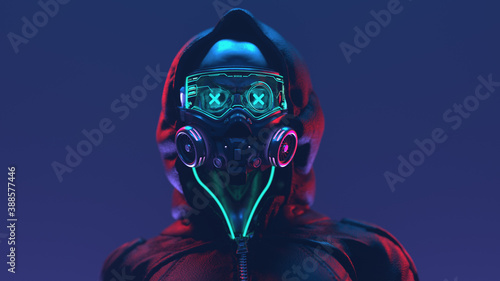Fotografia Fashion cyberpunk girl in leather black hoodie jacket wears gas mask with protective glasses and filters, glowing green wires