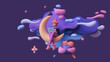 canvas print picture - Red-haired happy writer girl in glasses, pink pants works on a laptop and sits on the moon late at night in space with floating blue purple clouds, stars, a cat, an owl. 3d render in minimal art style