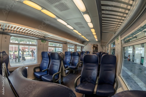 Obraz na plátně View of the interior of a train with empty seats