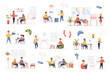 Development company bundle of flat scenes. Workflow process isolated set. Developers, furniture, presentation, discussion project, programming elements. Software production cartoon vector illustration