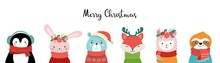 Cute Christmas Safari Animals. Sloth, Llama, Bunny, Polar Bear. Merry Christmas Baby Animals Wearing Warm Clothes, Sweater, Scarf And Hats