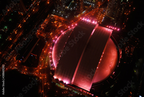 Naklejka premium Birds eye view of Toronto dome stadium at night, Toronto, Canada - September 30, 2006