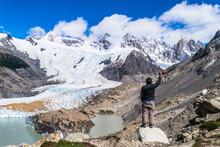 Young Man, Trekking Tourist Go...