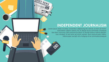 Independent Journalism Flat Banner. Equipment For Journalist. Man Sitting On The Floor And Holding Lap Top In His Lap. Flat Vector Illustration