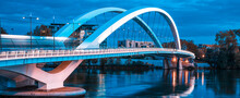 Panoramic View Of Famous Bridge In Lyon