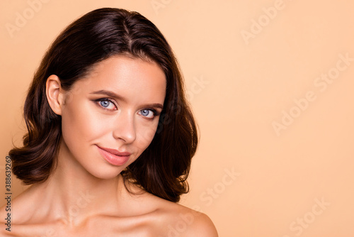 Fototapety, obrazy: Close up photo beautiful amazing she her lady blue eyes healthy brown curls ideal brilliant appearance plump allure tempting big lips balm wear no clothes isolated beige pastel background
