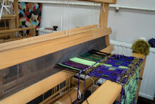 Close Up On Threads On Weaving...
