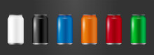 Realistic Aluminium Cans Collection In Different Colors, Vector 3d Illustration, Drink Cans Collection, Mockup Of Can For Brand Promotion