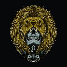 Artwork Illustration And T-shirt Design Leo Skull Zodiac Premium Vector
