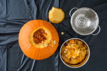 Fresh Carved Pumpkin On A Plas...