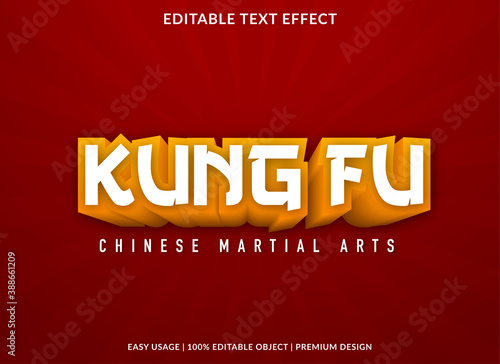 Obraz na plátně kung fu text effect template with 3d bold style use for business logo and brand