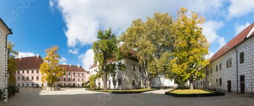 At the Courtyard of Trebon Castle. Renaissance palace in Trebon. Trebon is a historical town in South Bohemian Region. Czech Republic. Nice sunny day during summer or autumn season.