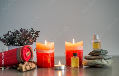 Photo velas y aceites de aromaterapia