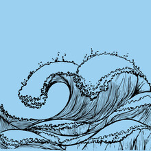 Great Wave In Vintage Style Re...