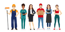 People Different Profession Collection Set. Builder, Nurse, Business Woman, Delivery Man, Barista, Sport Trainer. Isolated Vector Illustration