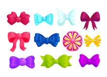 Multicolor Decorative Bows Cartoon Vector Illustrations Set. Cute Red, Blue And Violet Bowties Collection Isolated On White Background. Beautiful Tied Ribbons And Flowers Girls Hair Accessories Pack
