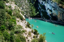 View To The Cliffy Rocks Of Verdon Gorge At Lake Of Sainte Croix, Provence. Near Moustiers Sainte Marie, Department Alps De Haute, Region Provence Alpes Cote D'Azur. Largest Green Canyon In France