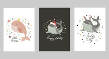 Set Of Isolated Christmas Card...