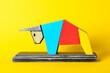 Leinwandbild Motiv Figurine of bull as symbol of year 2021 on color background