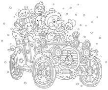 Smiling Funny Snowman Driving An Old Car With Christmas Gifts For Children On A Snowy Winter Day, Black And White Vector Cartoon Illustration For A Coloring Book Page