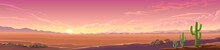 Panoramic View Of A Desert Sunset. A Wide View Of A Large Landscape With Some Vegetation.