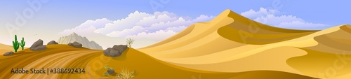 Fotografia A wide view of a barren desert with large sand dunes and a road across an uneven landscape