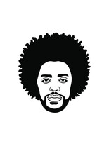 Black Afro African American Male Face Portrait Vector Silhouette With Curls Hairstyle And Beard.Man Head Drawing Of Full Face Isolated On White Background.Wall Sticker Vinyl Decal.Print For T Shirt.