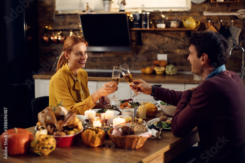 Happy couple toasting during Thanksgiving dinner at dining table. Fototapet
