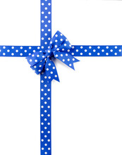 Blue Bow And Ribbon With White Polka Dots Isolated