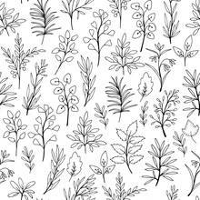 Seamless Pattern With Hand-drawn Branches And Flowers