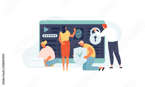 Obraz People work with data protection and internet security. Confidentiality, private information and identification concept vector illustration - fototapety do salonu