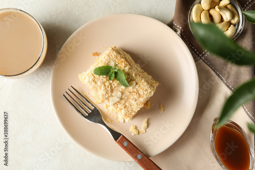 Concept of tasty lunch with plate of Napoleon cake Canvas