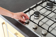 Modern Kitchen Gas Stove Cooker With Metal Burner On Countertop