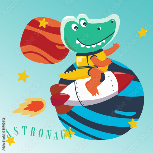Fotografía Cute little aligator Astronaut in space wearing space suits with cartoon style