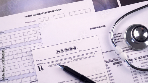 Fotografia, Obraz Prior authorization form, report of analysis form, x-ray picture and prescriptio