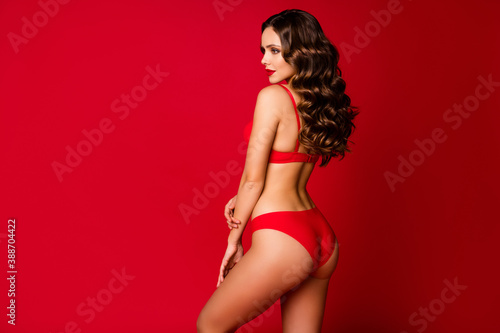 Obraz Profile rear behind view photo of seductive beauty curly lady slim body shapes look empty space wear brassiere panties lingerie underwear advertisement model isolated red color background - fototapety do salonu