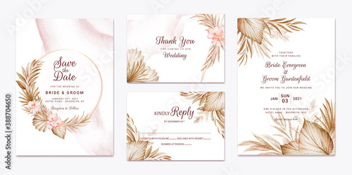 Fototapeta Wedding invitation template set with brown dried floral and leaves decoration. Botanic card design concept obraz