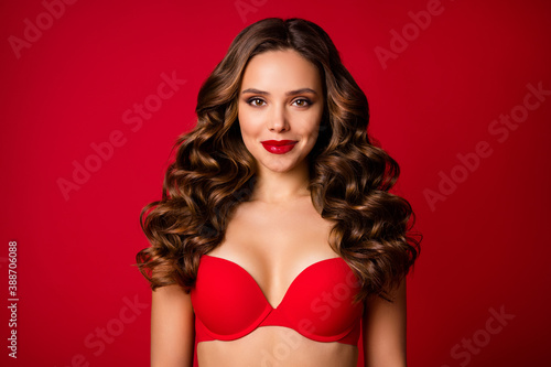 Obraz Photo of attractive seduce perfect beauty curly lady sensual appearance bright lipstick x-mas surprise boyfriend wear brassiere lingerie advertisement isolated vibrant red color background - fototapety do salonu