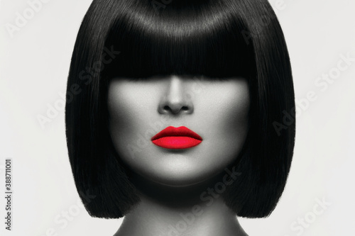 Foto Perfect fashion female model face closeup.