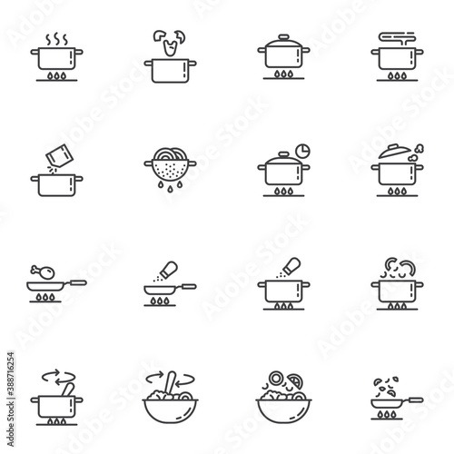 Cooking instruction line icons set, food preparation outline vector symbol collection, linear style pictogram pack Fototapeta