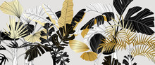 Luxury Gold And Black Tropical Plant Background Vector. Floral Pattern With Golden Tropical Palm, Coconut Tree, Split-leaf Philodendron Plant ,Jungle Plants Line Art On White Background.